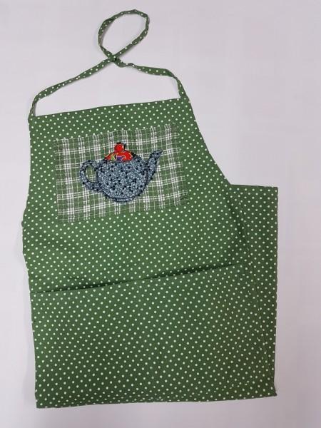 grüne Schürze mit liebevoll applizierter Teekanne