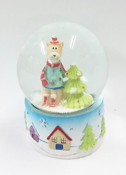 Schneekugel Weihnachtsbär mit Baum