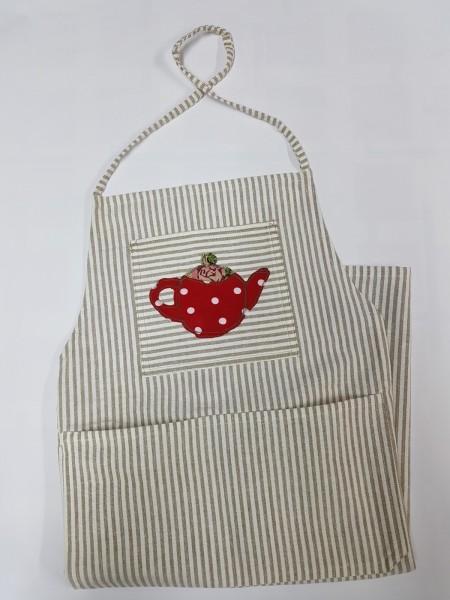 hellbraun gestreifte Schürze mit liebevoll applizierter Teekanne
