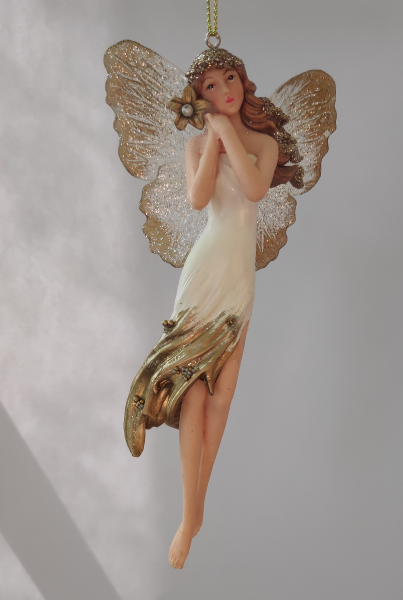 Blumenelfe in weiß-goldenem Kleid A
