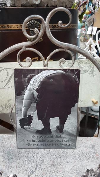 """Vintage-Dekobrettchen """"Omichen mit Hund!"""