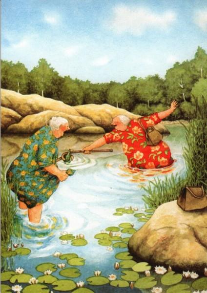 Postkarte - Angeln im Teich