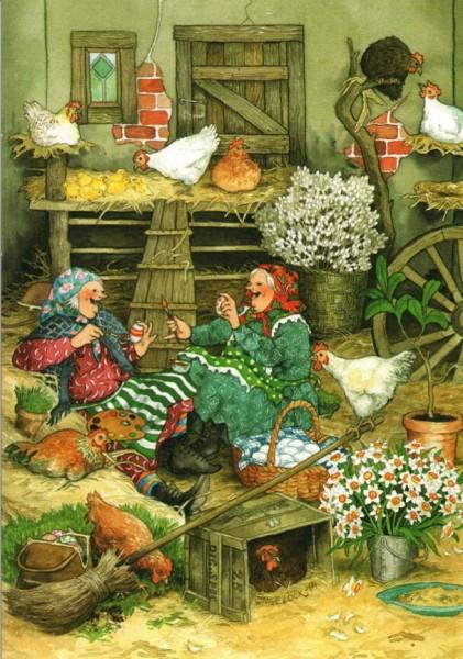 Postkarte - Eier bemalen in der Scheune