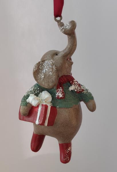 Elefant mit Geschenk - Dekofigur