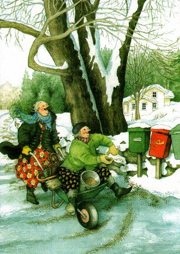 Postkarte - Winterdienst zu zweit