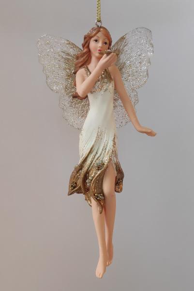 Blumenelfe in weiß-goldenem Kleid B