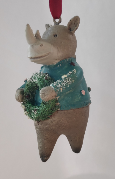 Nashorn mit Weihnachtskranz - Dekofigur