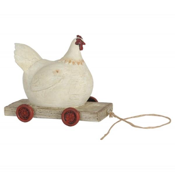 Huhn auf Rädern - Dekofigur