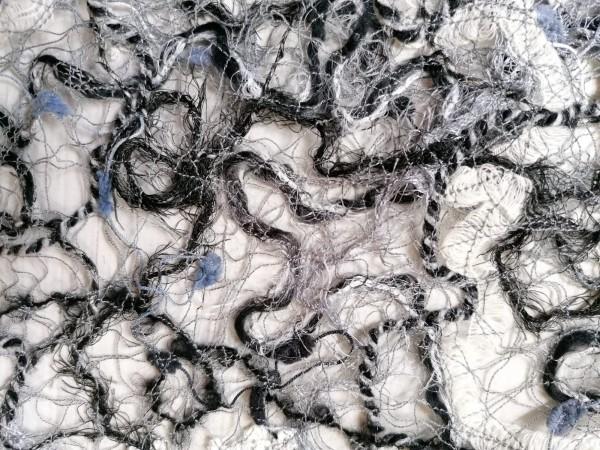 Schalkragen schwarz-weiss-blau