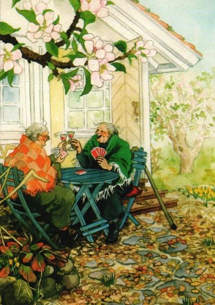 Postkarte - Das erste Spiel im Garten
