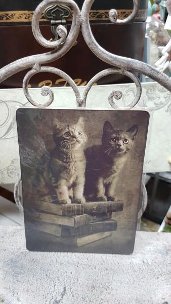 """Vintage-Dekobrettchen """"Katzen"""""""