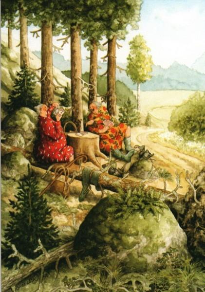 Postkarte - Die Damen spielen Karten im Wald