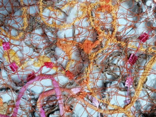 Schalkragen braun-gelb-rosa