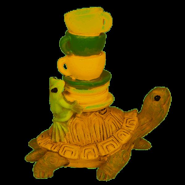 Schildkröte und Frosch trinken Kaffee - Dekofiigur